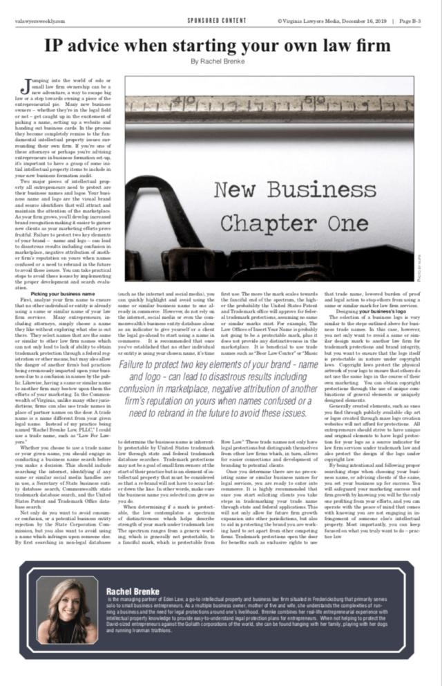 Virginia Lawyer's Weekly Magazine Rachel Brenke